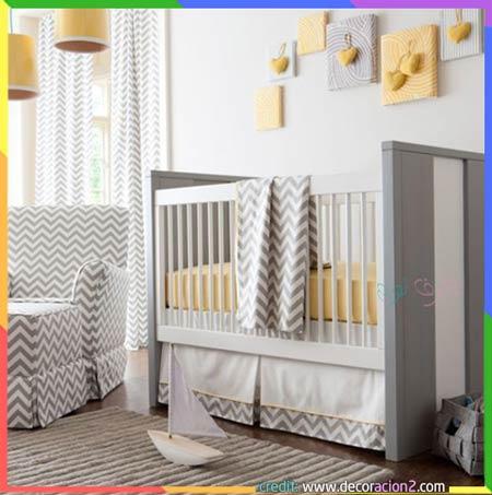 غرف نوم اطفال صفراء ورمادي