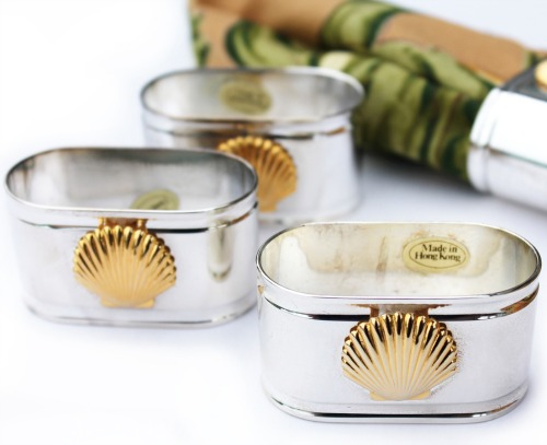 Silver and Gold Sea Shell Napkin Rings