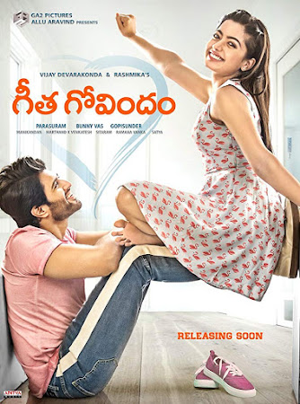 Poster Of Geetha Govindam In Dual Audio Hindi Telugu 300MB Compressed Small Size Pc Movie Free Download Only At worldfree4u.com