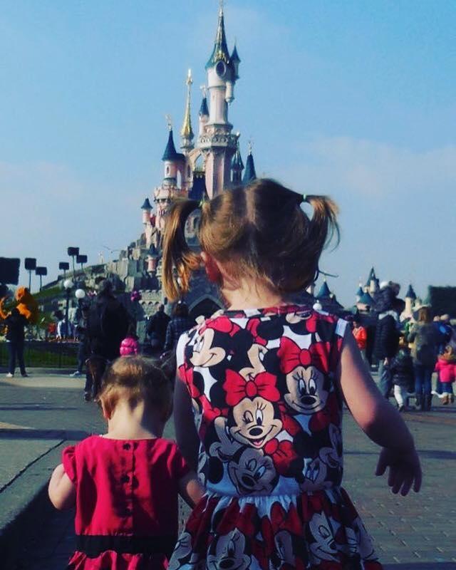 In front of Disneyland Paris castle on main street