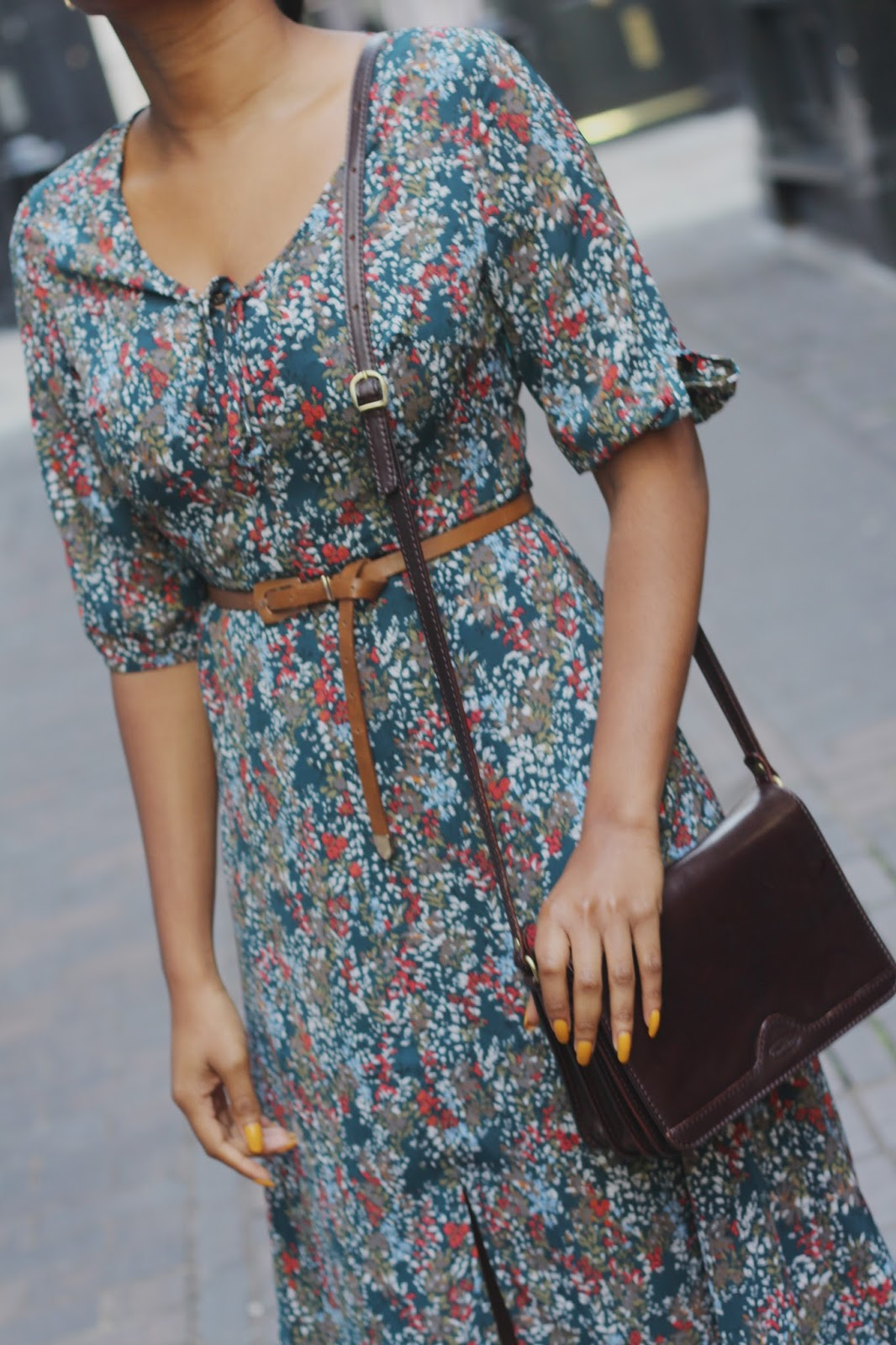 alice teal floral midi dress