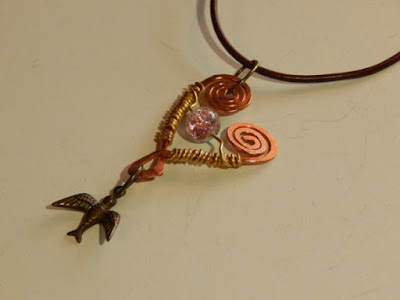 wire wrapped copper heart and bird necklace spring handmade jewelry