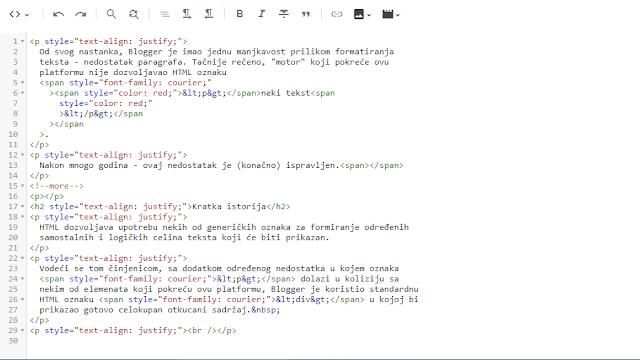 Konačno - HTML paragrafi u Blogger-u