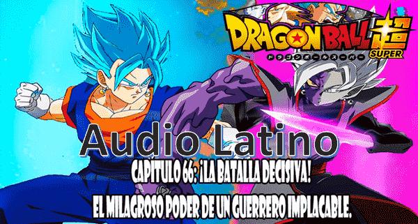 Ver capitulo 66 en audio latino online, Goku logra mantenerse ante el ataque de Zamasu con el kame kame ha.