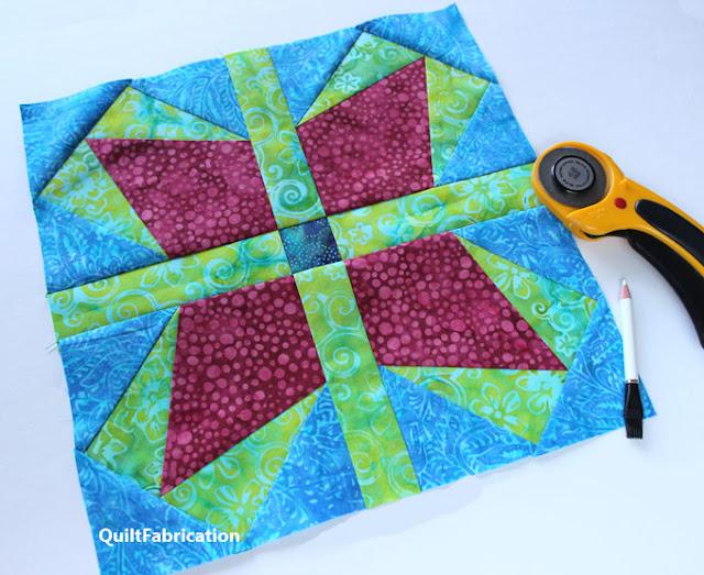 pink green and blue batik quilt block