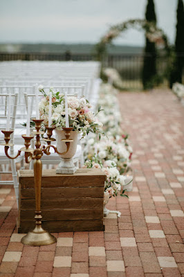 ceremony aisle decor and flowers
