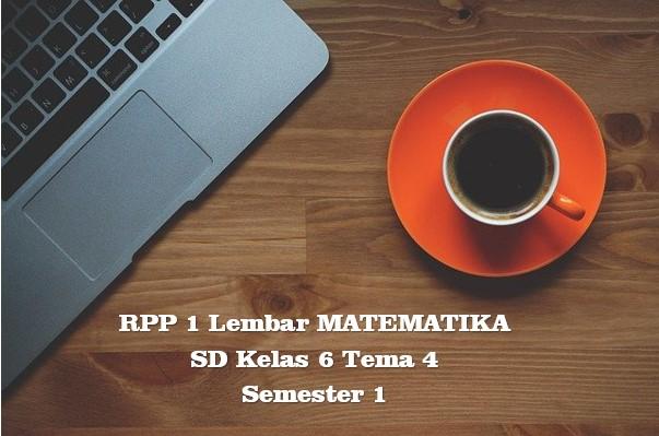 Download RPP 1 Lembar MATEMATIKA SD Kelas 6 Tema 4 Semester 1