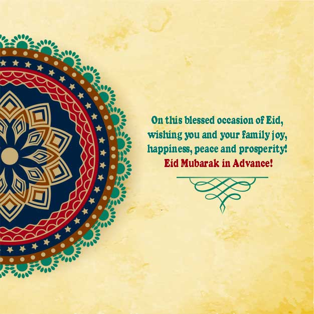 Advance Eid Mubarak Wishes in English
