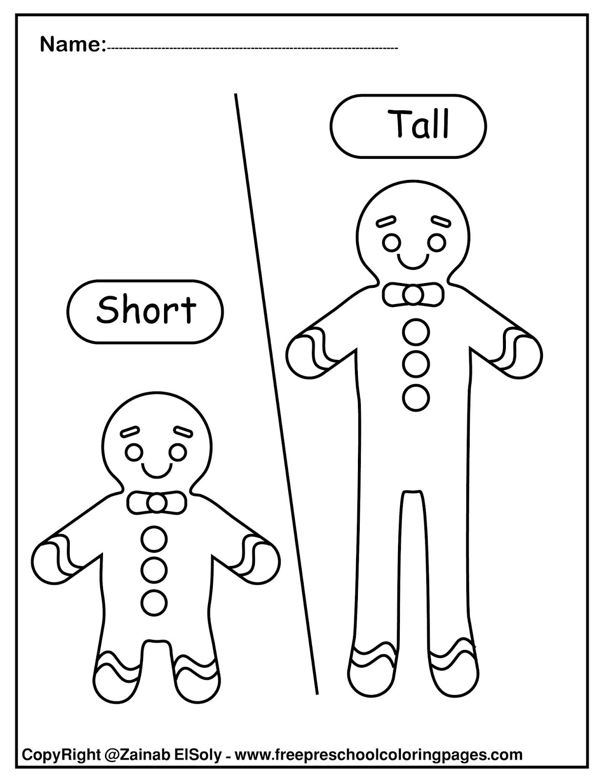 Set Of Gingerbread Man Opposites For Kids