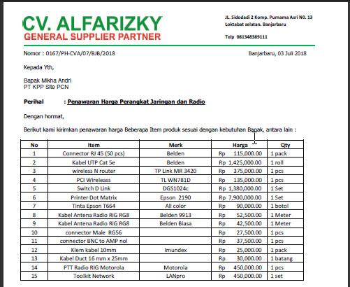 Download Contoh Format Surat Penawaran Harga Barang Dan Jasa
