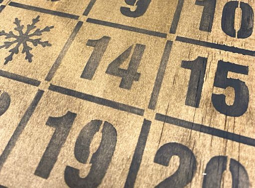 Stencil a Rustic Bingo Advent Calendar