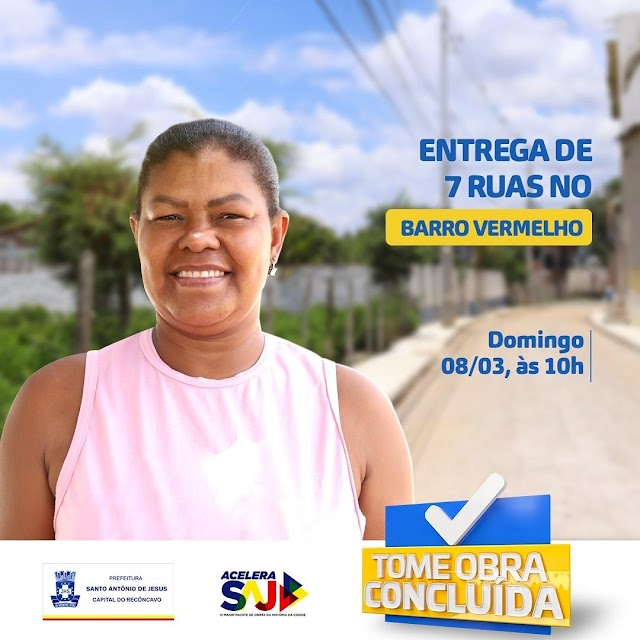 Prefeitura entrega sete ruas pavimentadas no Barro Vermelho neste domingo (08)