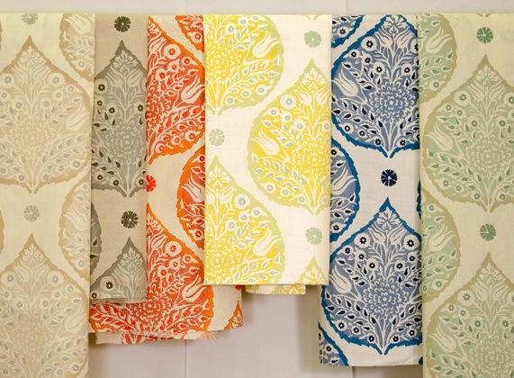 Lotus Fabric Light Flax On Cream Linen Cadet Upholstery Rhubarb Sprout White Denim