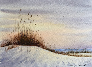 Water color painting of sand dunes and sea oats at the beach, by Indian artist Manju Panchal