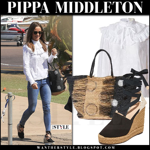 Pippa Middleton in white blouse, skinny jeans and wedge sandals castaner what she wore june 1 2017