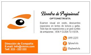 Tarjetas de visita para optometrista