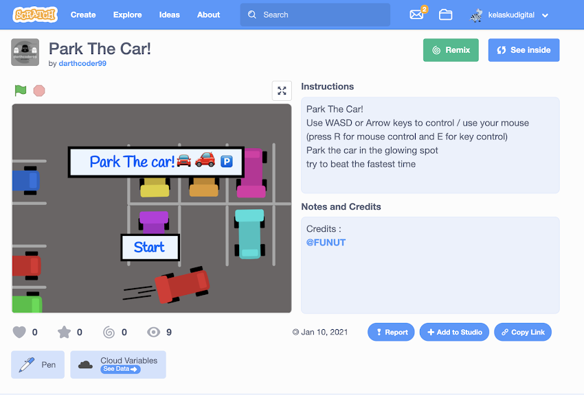 Game Park The Car Karya Dipta Dengan Coding Scratch 3.0