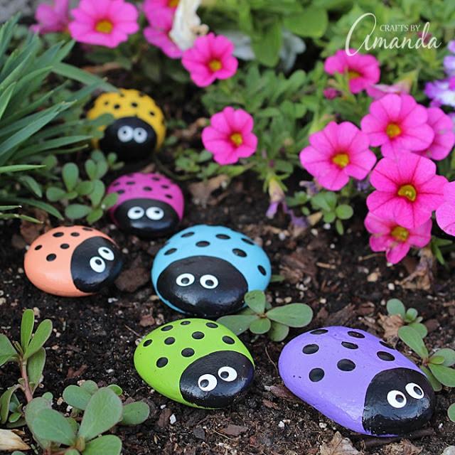 how to paint rainbow ladybug rocks