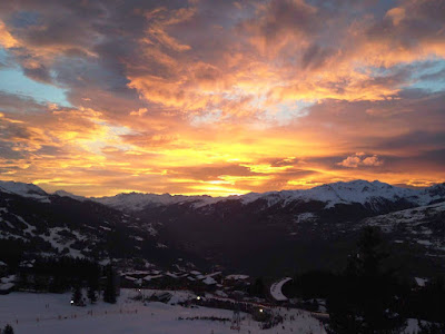 Glorious red-tinged evening sky over the ski slopes