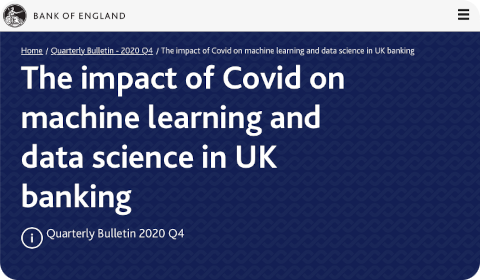 Bank of England – The impact of Covid on machine learning and data science in UK banking