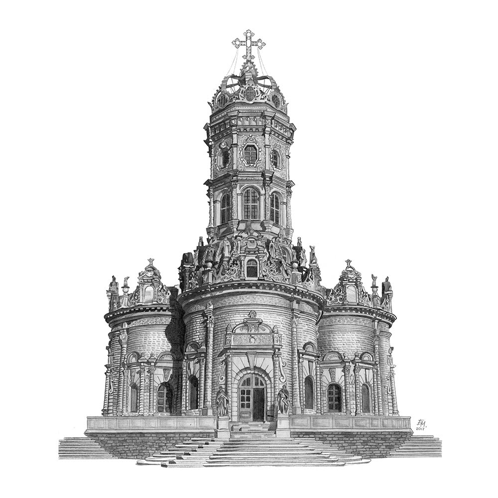 05-Znamenskaya-Church-Dubrovitsy-Russia-Elizabeth-Mishanina-Architecture-Immaculate-Drawing-Technique-www-designstack-co
