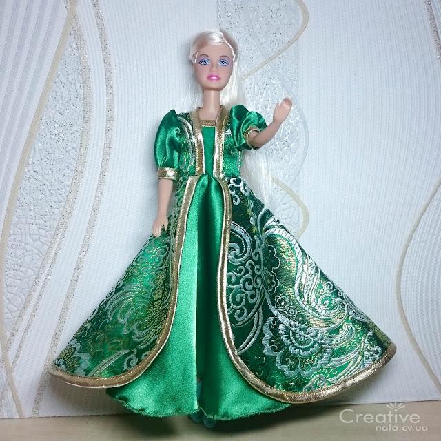 Зеленое платье для Барби