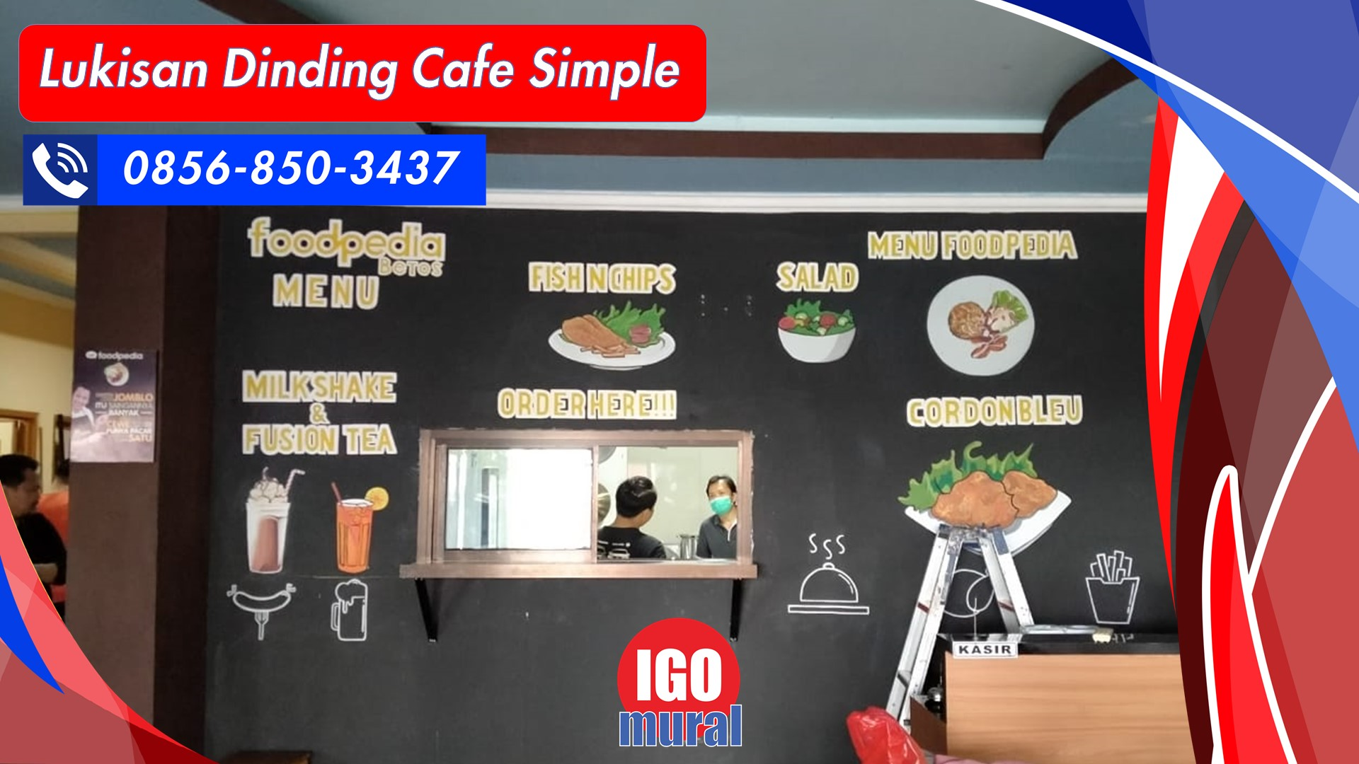 Lukisan dinding cafe simple
