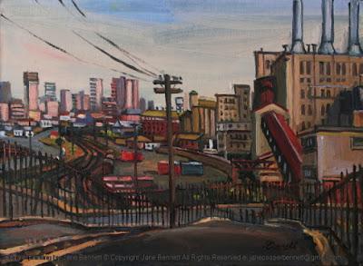 Plein air oil painting of Pyrmont Goods Yard in Pyrmont by industrial heritage artist Jane Bennett
