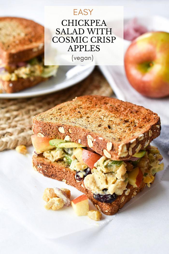 Easy Chickpea Salad Sandwich With Cosmic Crisp Apples (Vegan Recipe)