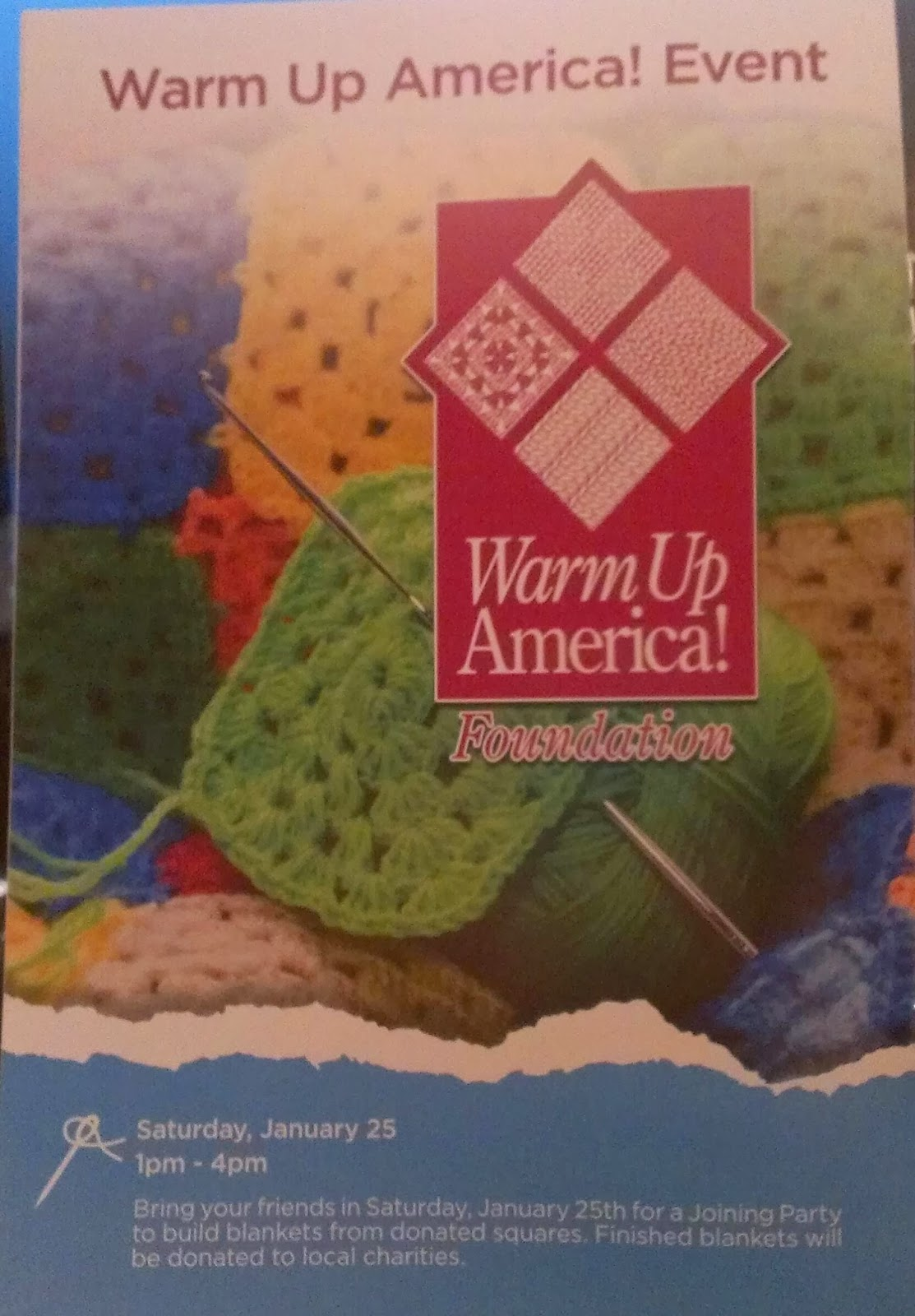 Crochet creations by sara warm up america at michaels for Michaels craft store utah