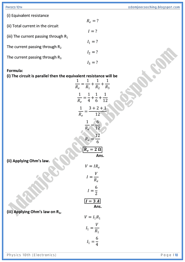 Adamjee Coaching: Electronics - Solved Numericals - Physics 10th