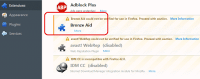 Bronze Aid extension in Firefox