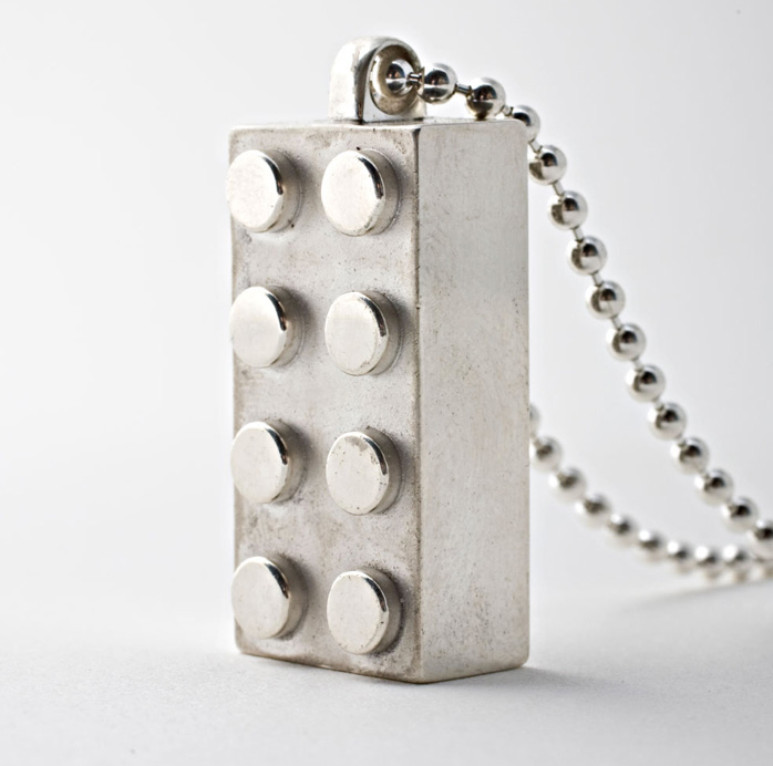 sterling silver LEGO pendant