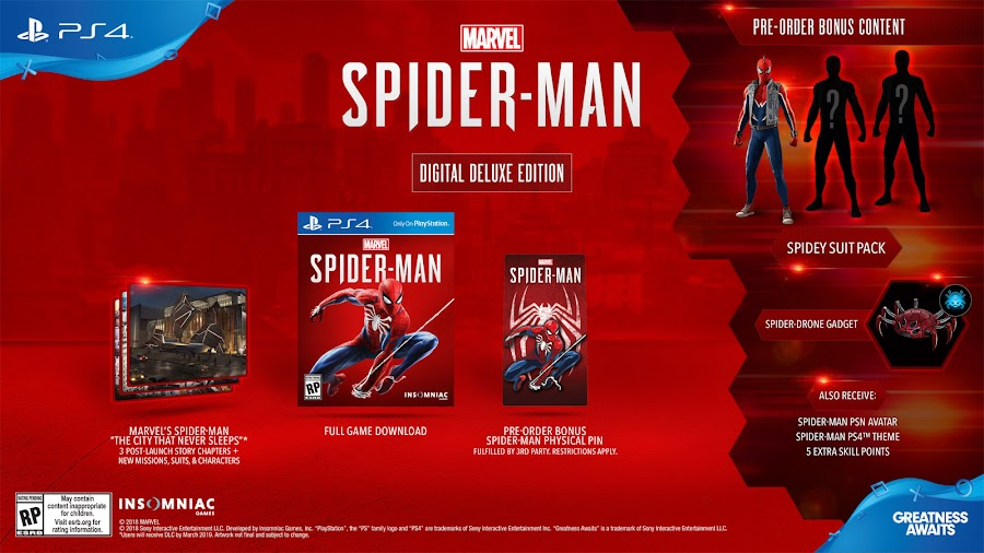 marvel's spider-man game ps4 digital deluxe edition