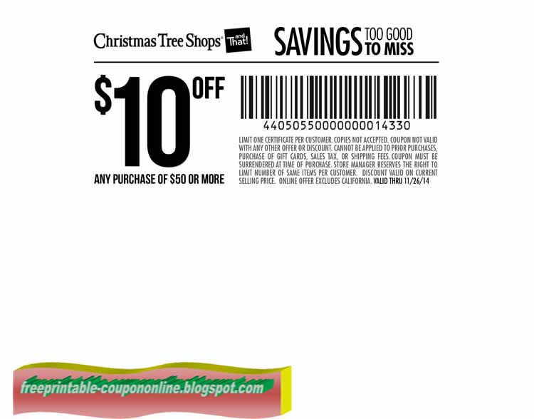 free printable christmas tree shops coupons - Coupon For Christmas Tree Shop
