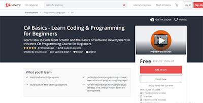 كورس مجانى لتعلم برمجة C# من موقع الدورات والكورسات Udemy !