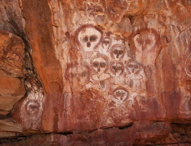 Wandjina Rock Art on the Barnett River in the Kimberley region of Western Australia