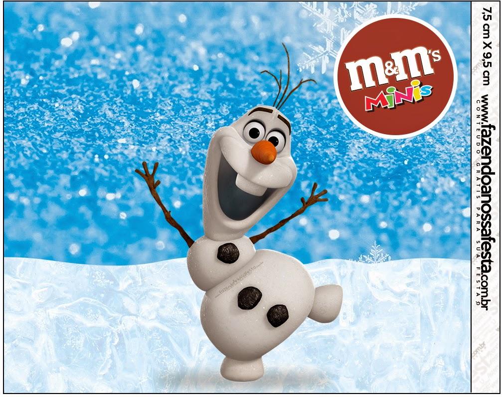 Etiquetas M&M de Olaf para imprimir gratis.
