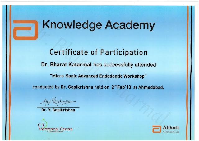 Certificate of Workshop training on Micro-sonic advanced endodontic workshop under Dr Gopikrishna