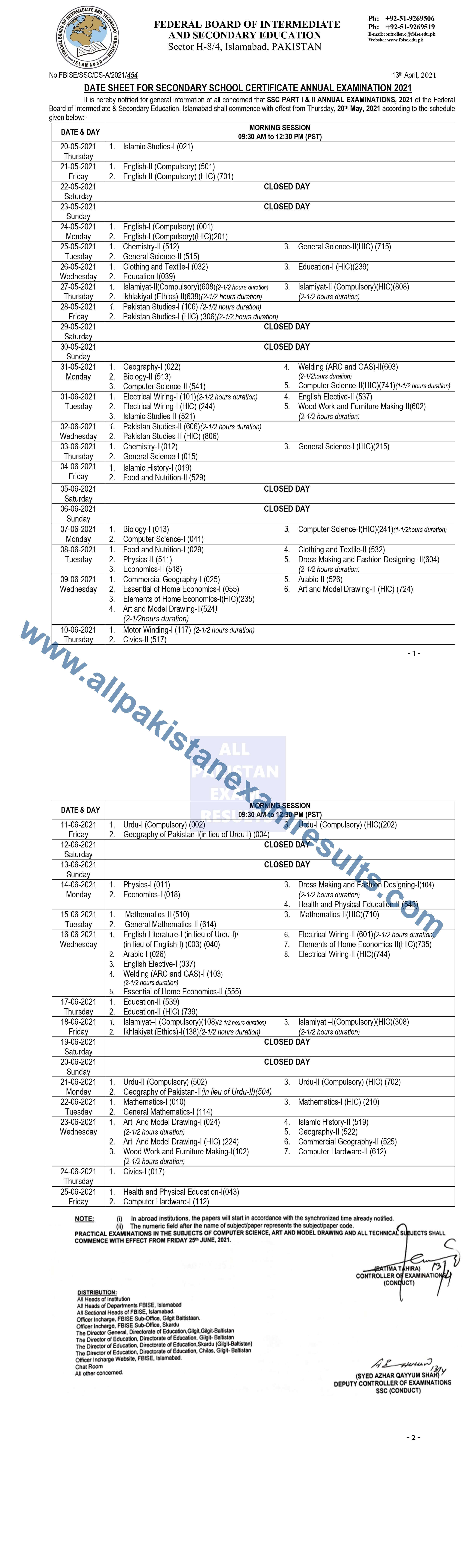FBISE Date Sheet 9th and 10th Class 2021
