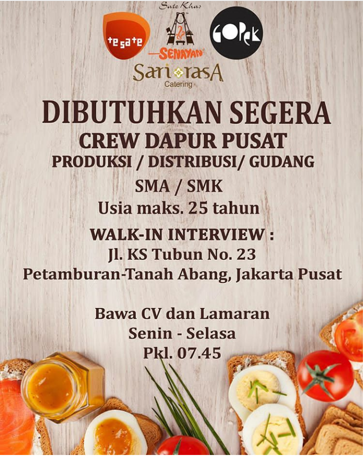 Open Walk In Interview Setiap Senin Selasa Di Sarirasa Group Sate