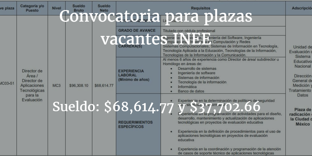 Convocatoria para plaza vacante del inee instituto for Convocatoria para plazas docentes 2017