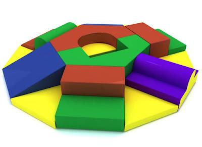 set gateo 19 piezas estimulacion juego espuma psicomotricidad colores azul verde amarillo rojo morado cilindro rampa escalera piso