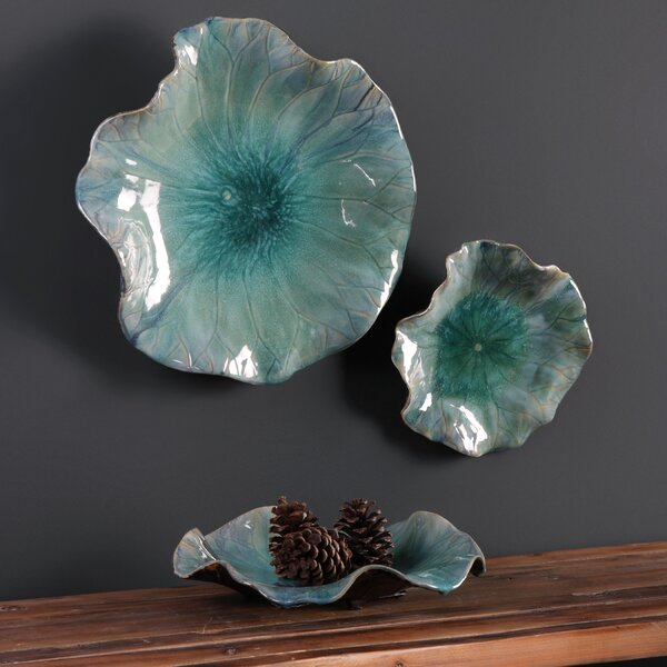 3 Piece Ceramic Flowers Wall Decor Set