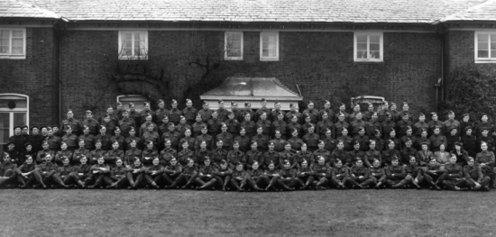 Photograph of the North Mymms area Home Guard outside the Brookmans Park Golf Club WWII. Image from R Papworth