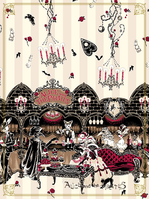 Alice and the Pirates Rosy Night Masquerade print close-up ivory colourway
