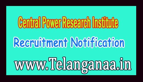 Central Power Research Institute CPRI Recruitment Notification 2016