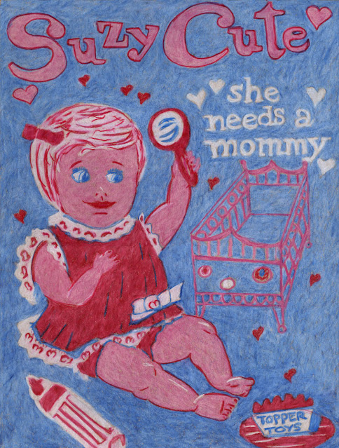 Vintage doll ad colored pencil drawing