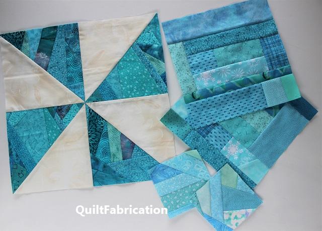 aqua scrap quilt blocks
