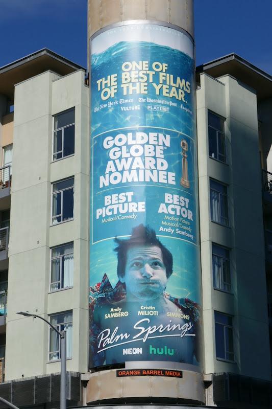 Andy Samberg Palm Springs Golden Globe nominee billboard